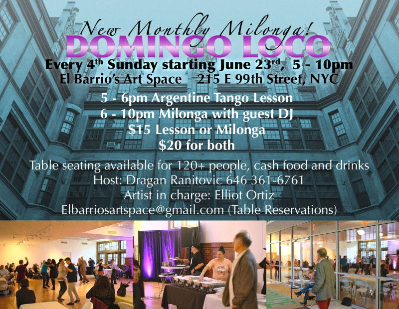 Domingo Loco - New Milonga on UES in NYC - Every 4th Sunday from 5-10 p.m.